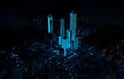 Lampe au néon de la ville 3d futuriste d'hologramme Photo stock