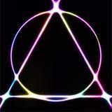 Lampe au néon rougeoyante, cercle abstrait sur le symbole de triangle, élément de conception pour des annonces, affiche, insecte, illustration libre de droits
