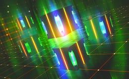 Lampe au n?on lumineuse Concept de processeur de Quantum Technologie de Blockchain dans le cyberespace virtuel