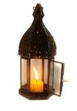 Lampe avec la bougie allumée Image libre de droits