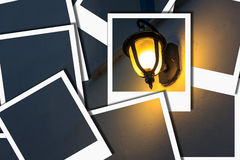 Lampe belichten gelbes sofortiges Foto Lizenzfreies Stockfoto