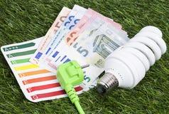 Lampe économiseuse d'énergie sur des gras verts Images libres de droits