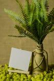 Lampe décorative avec des fougères et labels de papier avec le chevalet Images libres de droits