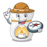 Lampe d'arome d'explorateur avec la mascotte brûlante de bougie illustration stock