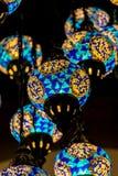 Lampe d'Istanbul, ton bleu, lampe colorée image libre de droits