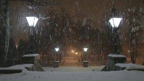 Lampe dans la tempête de neige banque de vidéos