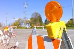 Lampe de barricade du trafic images stock
