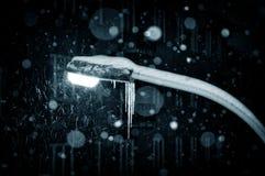 Lampe de chute de neige de nuit de l'hiver Photo stock