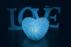 Lampe de coeur et amour de mot Photo stock