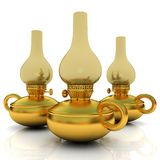 Lampe de kérosène d'or de vieux rétro vintage 3d rendent illustration libre de droits