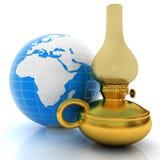 Lampe de kérosène d'or de vieux rétro vintage 3d rendent illustration stock