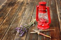 Lampe de kérosène rouge de vintage, et fleurs sages sur la table en bois. concept de beaux-arts. Images stock