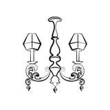 Lampe de luxe de style de Crystal Classic Image libre de droits