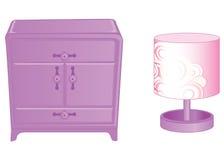 Lampe de margelle et de table Meubles élégants dans des couleurs roses riches d'isolement sur le fond blanc Illustration de vecte illustration stock