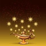Lampe de scintillements et d'aladdin d'or illustration stock