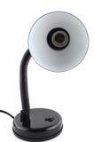 Lampe de table noire de bureau d'isolement au-dessus de la vue de face blanche et Photographie stock libre de droits