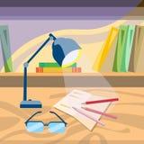Lampe de Workplace Paper Pencil d'étudiant sur le bureau Image stock