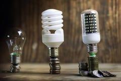 Lampe différente sur le concept de l'épargne de pièce de monnaie Photos libres de droits