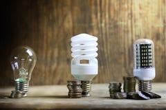 Lampe différente sur le concept de l'épargne de pièce de monnaie Photographie stock libre de droits