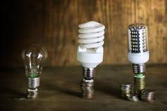 Lampe différente sur le concept de l'épargne de pièce de monnaie Photo stock