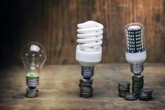 Lampe différente sur le concept de l'épargne de pièce de monnaie Photos stock