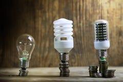 Lampe différente sur le concept de l'épargne de pièce de monnaie Images stock