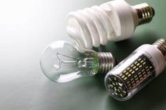 Lampe différente sur le vert Image stock