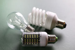 Lampe différente sur le vert Photographie stock