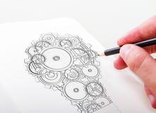Lampe drawning de main Photos libres de droits