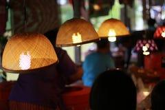Lampe en bambou sur le marché Photographie stock libre de droits