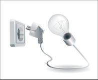 lampe et fiche électrique et plot Photo stock