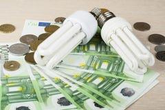 Lampe fluorescente économiseuse d'énergie sur le fond d'argent, l'ampoule d'Eco, la comparaison des lampes économiseuses d'énergi Image libre de droits