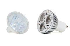 Lampe menée d'ampoule et d'halogène Photo stock