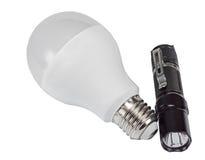 Lampe menée et lampe-torche électrique avec une LED Image stock