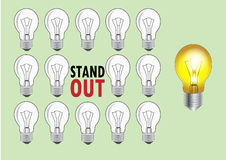 Lampe mit dem Licht und keinem Licht zum sich darzustellen, um unterschiedlich oder heraus stehend zu sein, Vektorillustration Stockbilder