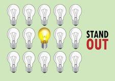 Lampe mit dem Licht und keinem Licht zum sich darzustellen, um unterschiedlich oder heraus stehend zu sein, Vektorillustration Lizenzfreie Stockfotos
