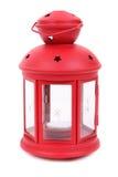 Lampe rouge avec la bougie Images libres de droits