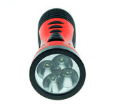 Lampe-torche électrique de poche d'isolement sur le fond blanc Photos libres de droits
