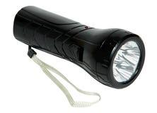 Lampe-torche noire d'isolement sur un fond blanc photos stock