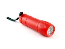 Lampe-torche rouge avec la lumière de LED Photographie stock