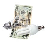 Lampe und Geld Lizenzfreies Stockfoto