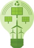 Lampe verte avec la puissance Photo libre de droits