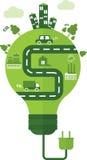 Lampe verte avec le chemin de fer Image libre de droits