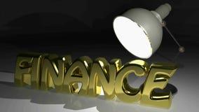 Lampe wirft Licht zum Wort FINANZIERUNG thtat heranwächst erstens in wireframe Version, später in der Goldfesten Version - Wieder stock video footage
