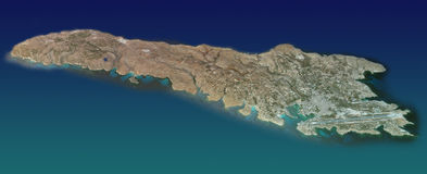 Lampedusa Island, map, aerial view. Aerial view of Lampedusa island and the surrounding, area map in 3d Stock Image