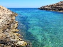 Lampedusa Island and Mediterranea Sea in Italy. Awesome view of Lampedusa Island and Mediterranea Sea in South Italy royalty free stock photos