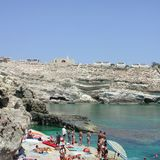 Tourists in Lampedusa stock photos