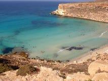 Isola dei Conigli beach in Lampedusa royalty free stock photo