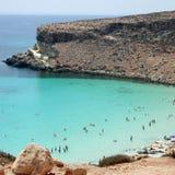 Isola dei Conigli beach. Lampedusa, Italy - September 24, 2002 : View of Rabbits beach from above stock photos