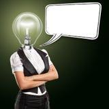 Lampen-Hauptgeschäftsfrau mit Sprache-Luftblase Stockfotografie